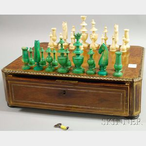 Carved Ivory Chess Set in Veneer Box