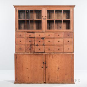 Pine Double Step-back Cupboard