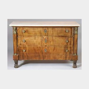 Empire Style Gilt Bronze Mounted Mahogany and Marble Top Commode