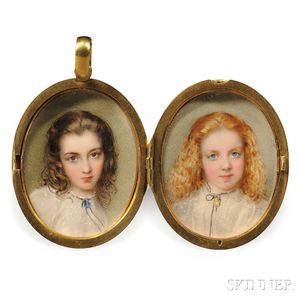Attributed to Gerald Sinclair Hayward (English, 1845-1926)      Two Portrait Miniatures of Girls in a Locket Frame.