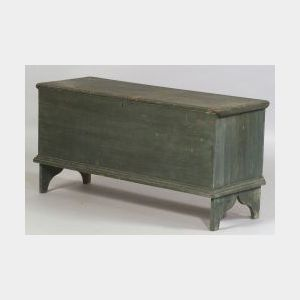 Blue Painted White Pine Six-Board Chest on Molded Cutout Base