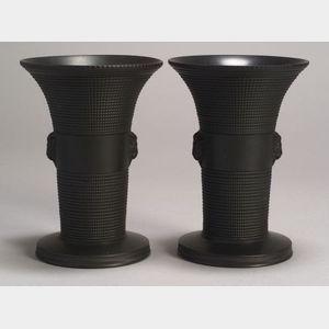 Pair of Wedgwood Black Basalt Vases