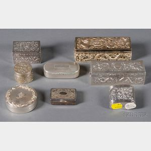 Group of Eight Chinese Export Silver Boxes