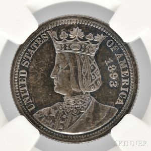 1893 Isabella Commemorative Quarter, NGC MS63 Prooflike.
