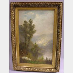 Framed Oil on Canvas Depicting a Mountain Lake