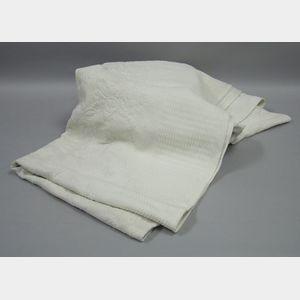 White Cotton Trapunto Coverlet.