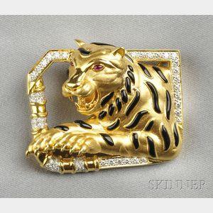 18kt Gold, Enamel, and Diamond Tiger Pendant/Brooch