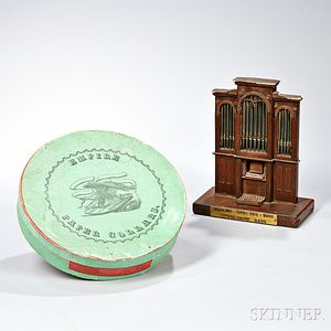 """Green """"Empire Paper Collars."""" Box and a Pipe Organ Model"""