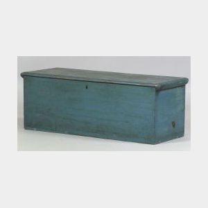 Blue Painted White Pine Six-board Chest