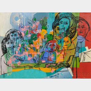 "Anna Lou ""Louie"" Rhoades (American, 20th Century)      Figures at a Table"