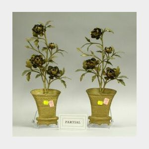 Gilt Metal Floral Wall Sconce and Two Ornaments.
