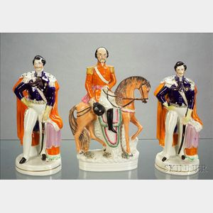 Three Staffordshire Figures of Prussian General Harding