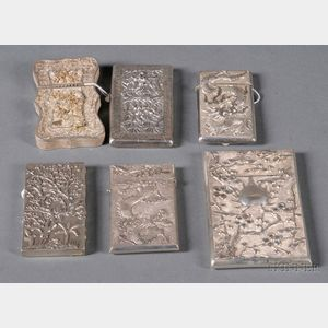 Six Chinese Export Silver Card Cases