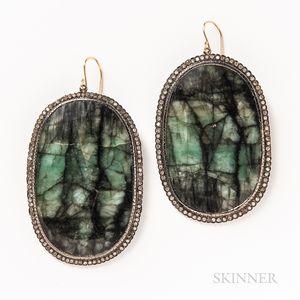 Pair of Raw Emerald and Rose-cut Diamond Earrings