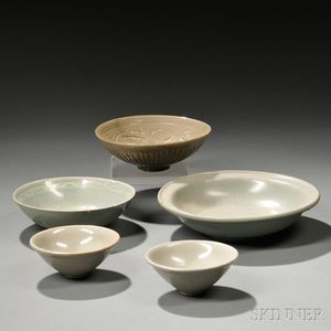 Five Celadon-glazed Wares