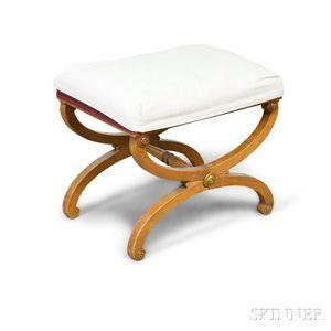 Classical-style Mahogany Curule-base Stool