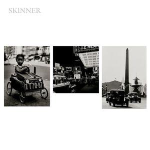 Fred Stein (German/American, 1909-1967)      Three Photographs: Place de la Concorde, Paris ;  Harlem, New York