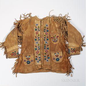 Cree Buckskin Beaded Coat and a Western Hide Jacket