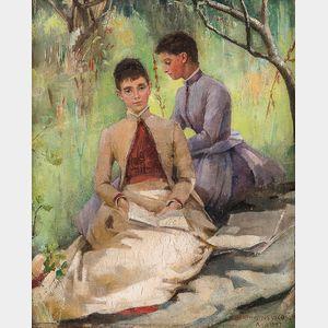Bertha Newcombe (British, 1857-1947)      En Plein Air Portrait of Two Women