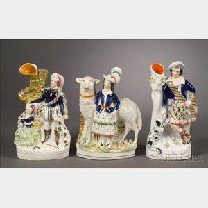 Three Staffordshire Figures with Animals
