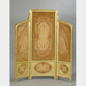 Art Nouveau Giltwood and Fabric-inset Three-Panel Floor Screen