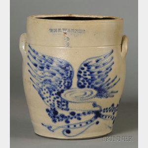 Stoneware Crock with Cobalt Blue Eagle