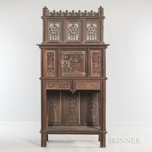 Gothic-style Carved Oak Cabinet