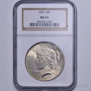 1927 Peace Dollar, NGC MS63.
