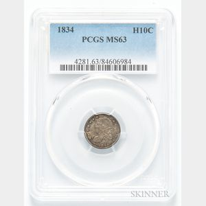 1834 Capped Bust Half Dime, LM-4, PCGS MS63