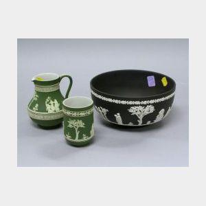 Wedgwood Dark Green Jasper Creamer, Vase and Black Jasper Bowl.