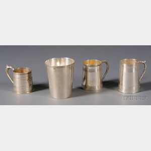 Three Chinese Export Silver Mugs and a Large Beaker