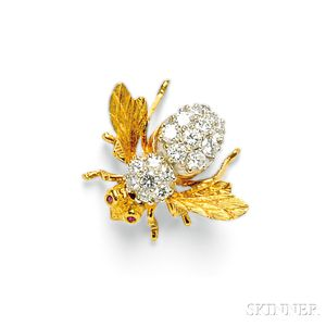 18kt Gold and Diamond Bee Brooch