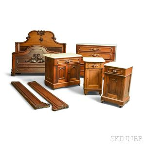 Assembled Five-piece Rococo Revival Carved Walnut Bedroom Suite.