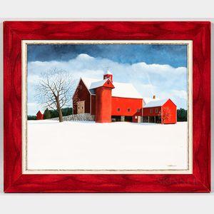 Marie Louis (Probably American, Late 20th Century)      Winter Farm Scene