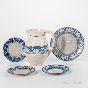 Five Pieces of Dedham Pottery Tableware