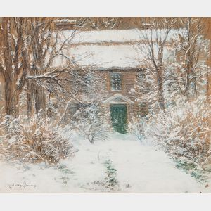 John Appleton Brown (American, 1844-1902)      Antique Home in Newly Fallen Snow
