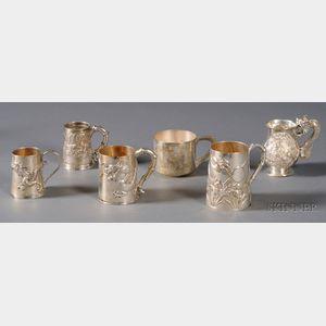 Six Chinese Export Silver Mugs