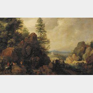 Attributed to Gillis Claesz de Hondecoeter (Belgian, 1575-1638)      Travelers in Mountainous Terrain