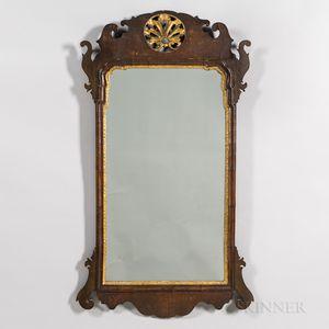 Mahogany Veneer and Parcel-gilt Scroll-frame Mirror