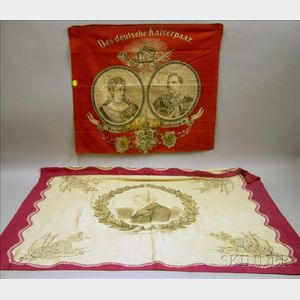 Printed Duke of Wellington Commemorative Silk Handkerchief and a Printed Kaiser Wilhelm II and Princess Victori...