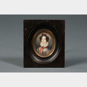American School, 19th Century      Portrait Miniature of a Young Woman with a Red Sash.