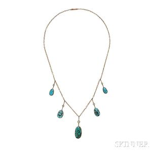 9kt Gold and Turquoise Necklace