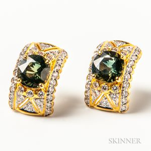 14kt Gold, Peridot, and Diamond Earrings