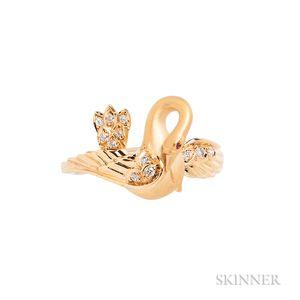 Carrera y Carrera 18kt Gold and Diamond Swan Ring