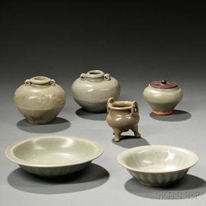 Six Celadon-glazed Wares