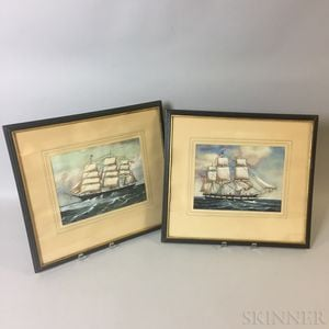 Pair of Framed Watercolor Ship Portraits