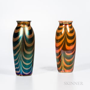 """Two Imperial Art Glass """"Lead Lustre"""" Iridescent Vases"""