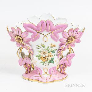 Large Pink Floral Limoges Vase
