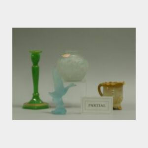 Seventeen Pieces of Colored and Acid Etched Glass, including a chocolate glass pitcher and punch cup, rose bowl, two ruffled compotes,
