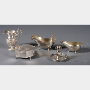 Five Chinese Export Silver Table Articles